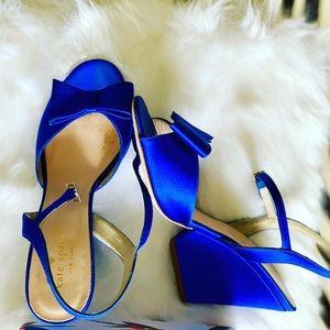 Kate Spade satin wedges- blue